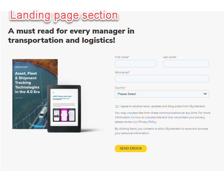 landing pages section