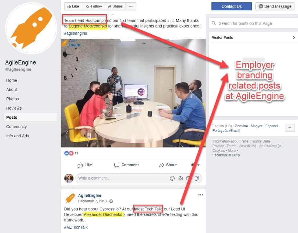 Agile Engine's Facebook profile