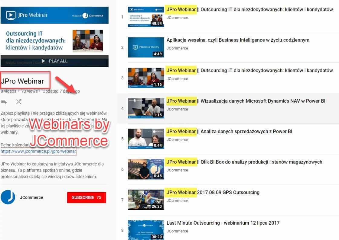 JCommerce webinars