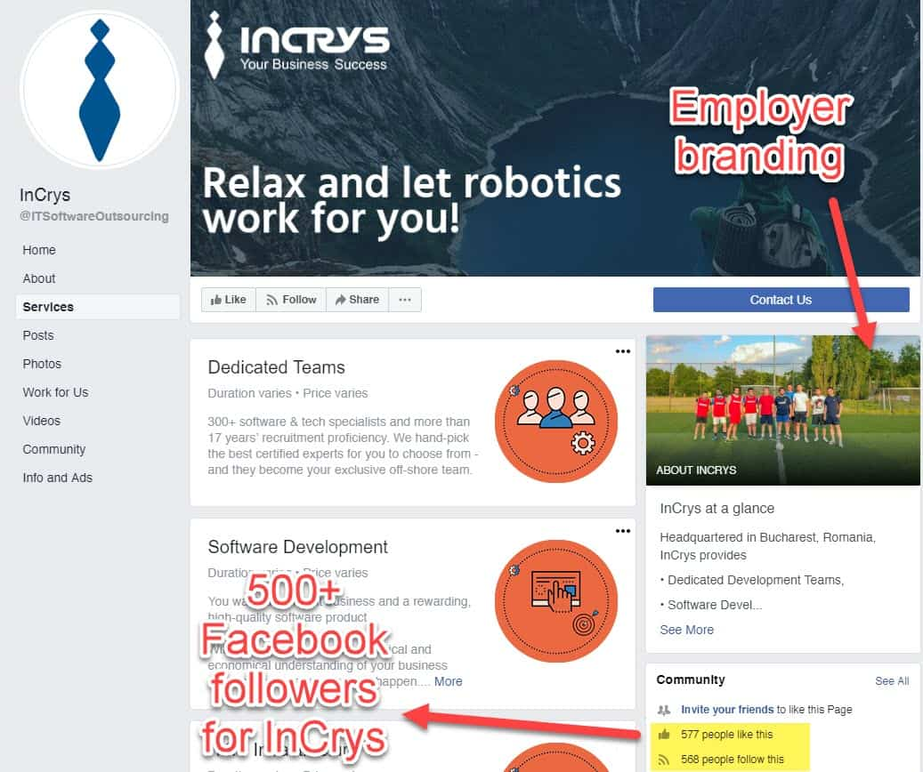 InCrys Facebook profile