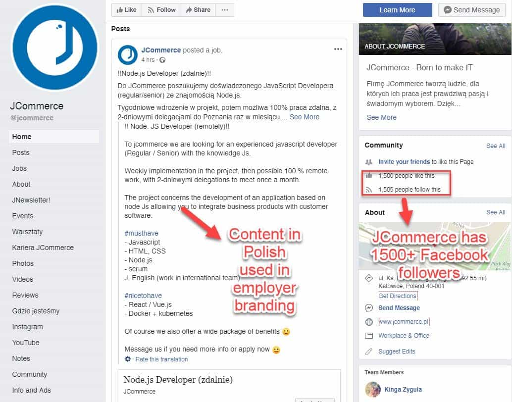 JCommerce promotes jobs via Facebook