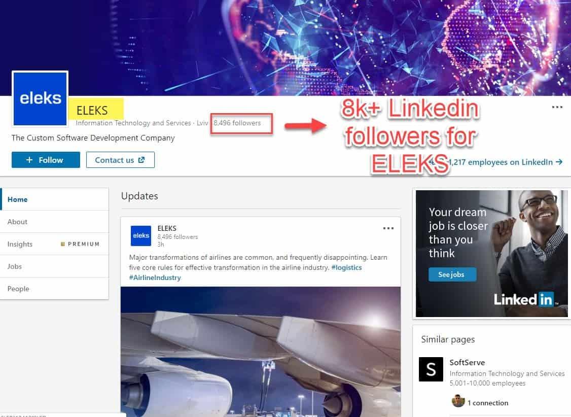 Eleks Linkedin 8k+ followers